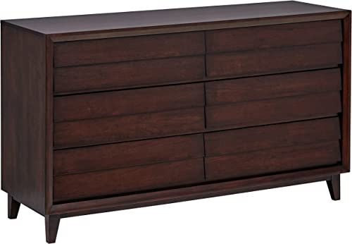 Rivet Ventura Mid-Century Louvered Dresser, 60 W, Cherry