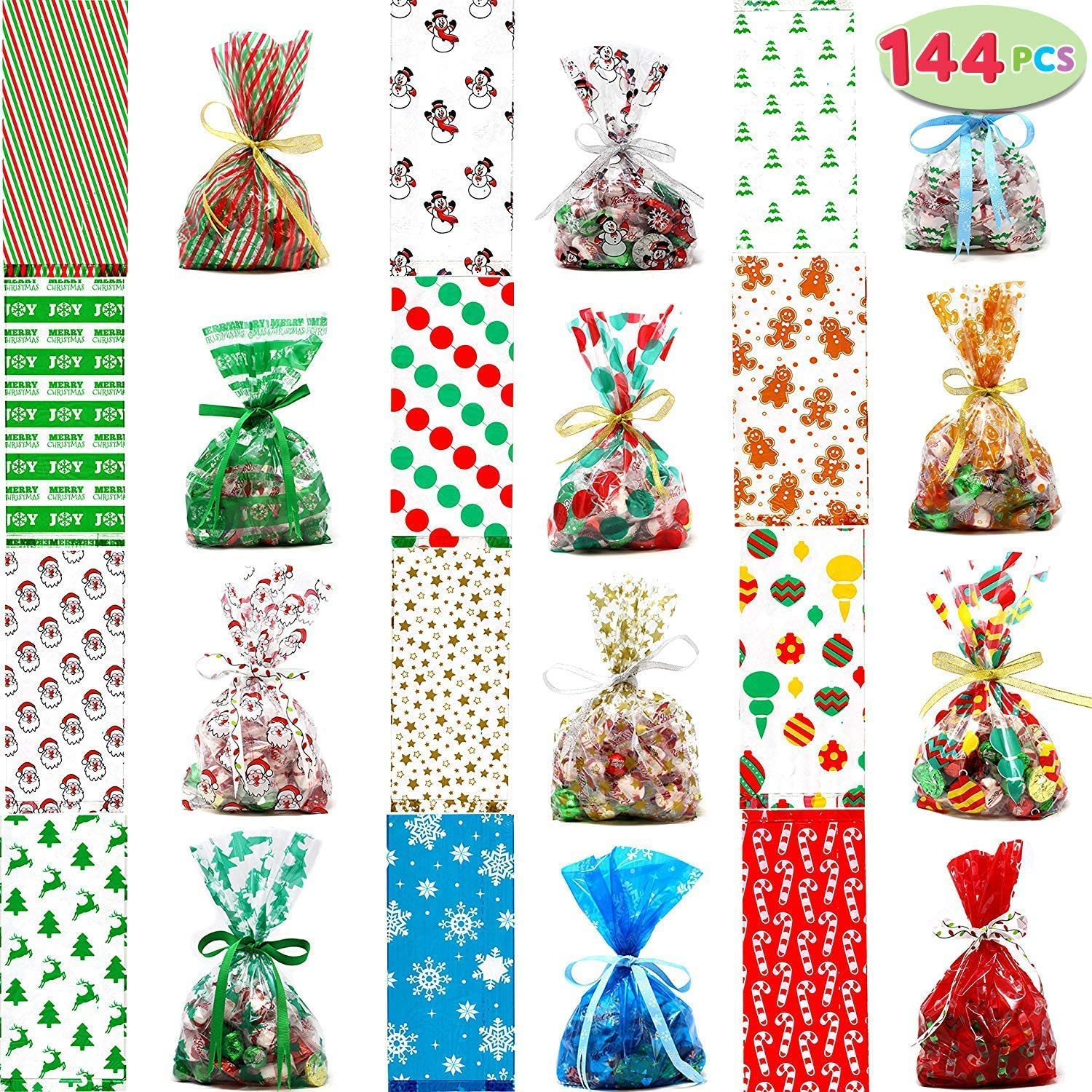 144 PCs Christmas Cellophane Goody Bags Assortment for Holiday Treats, Christmas Party Favors, Cello Candy Bags, Christmas Gifts, Party Supplies, Christmas Goodie Bags