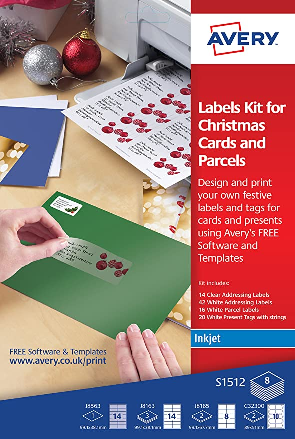Avery Christmas Labels.Avery S1512 Labels Kit For Christmas Cards And Parcels For Inkjet Printers