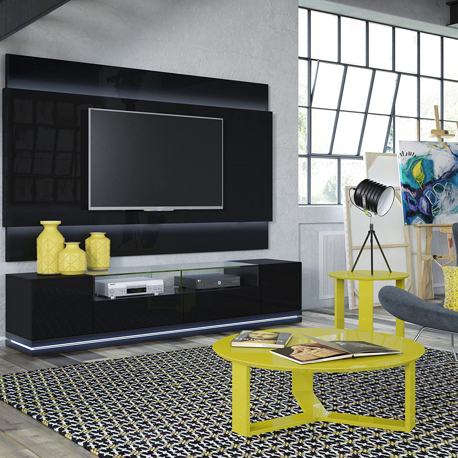Manhattan Comfort Vanderbilt Collection Contemporary TV Stand with Storage and LED Lights, 85.4