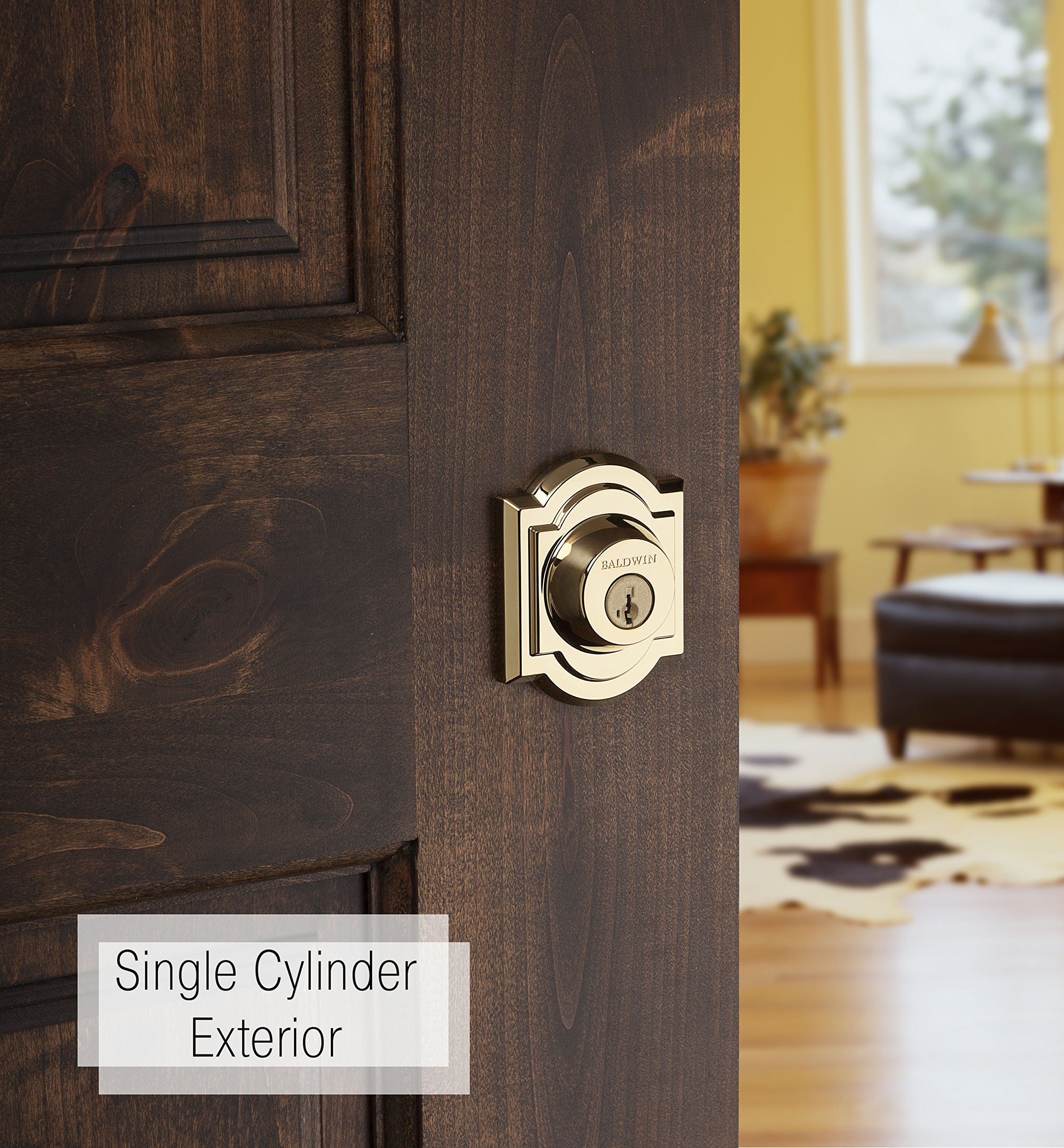 Baldwin Prestige 380 Arched Single Cylinder Deadbolt Featuring SmartKey in Lifetime Polished Brass by Baldwin (Image #2)