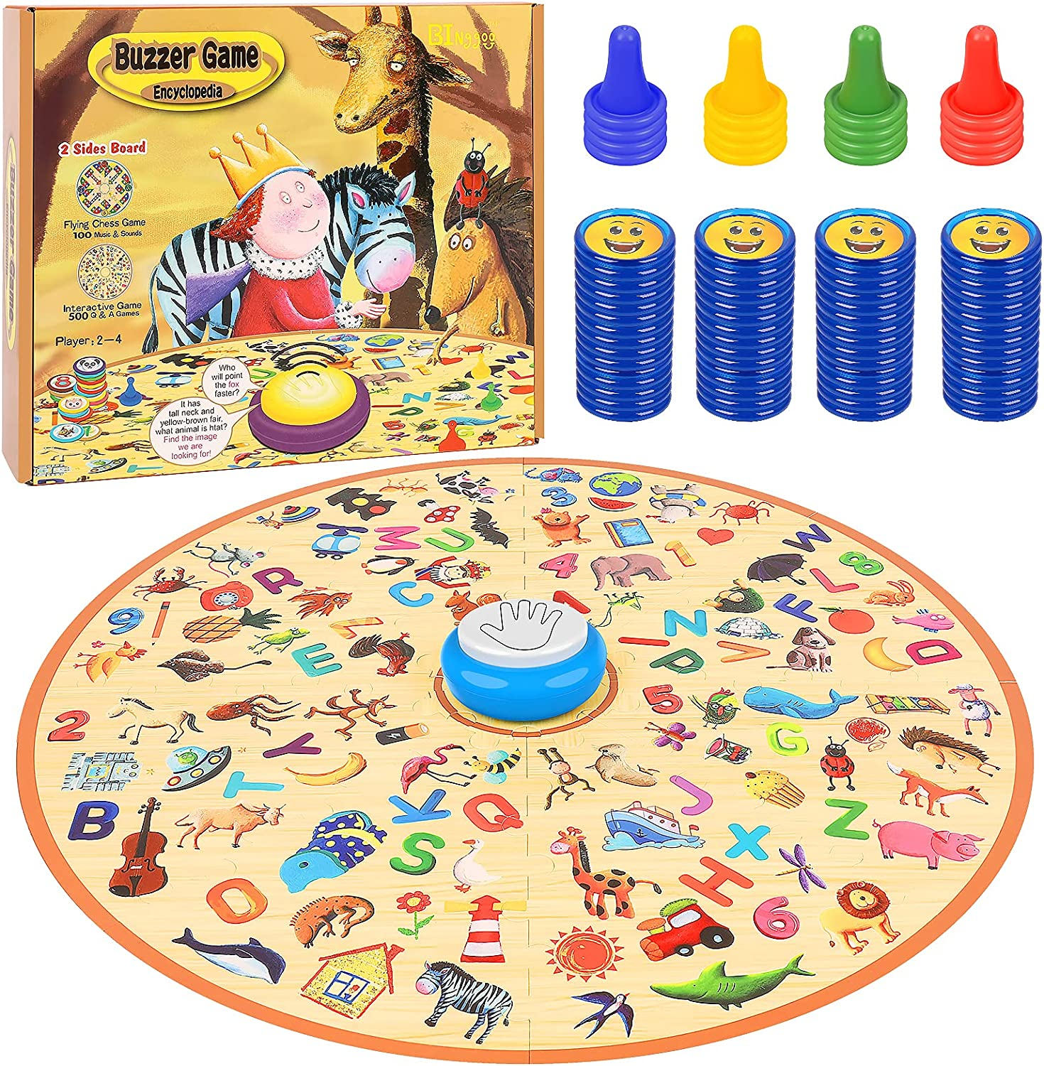 BINGGOO Family Board Games with Answer Buzzer, Quick Thinking Matching Games for Kids 4 - 10 Years Old, Kids Ludo Board Game, Children Interactive Answer Race Toy for 2-4 Players