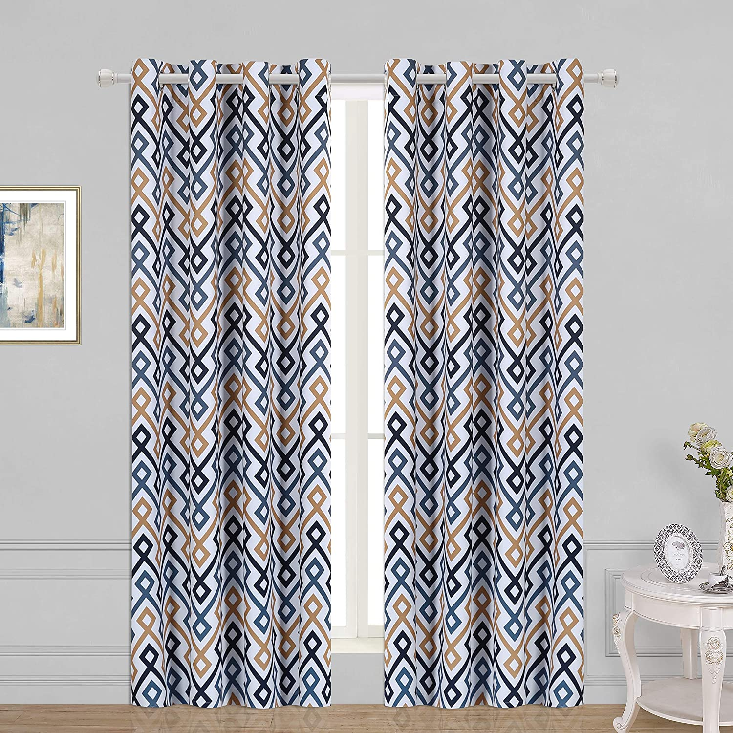Navy Set Of 2 Curtain Panels Grommet Room Darkening Curtains For Living Room And Bedroom Wontex Geometric Trellis Printed Thermal Insulated Blackout Curtains 52 X 72 Inch Home Décor Draperies Curtains