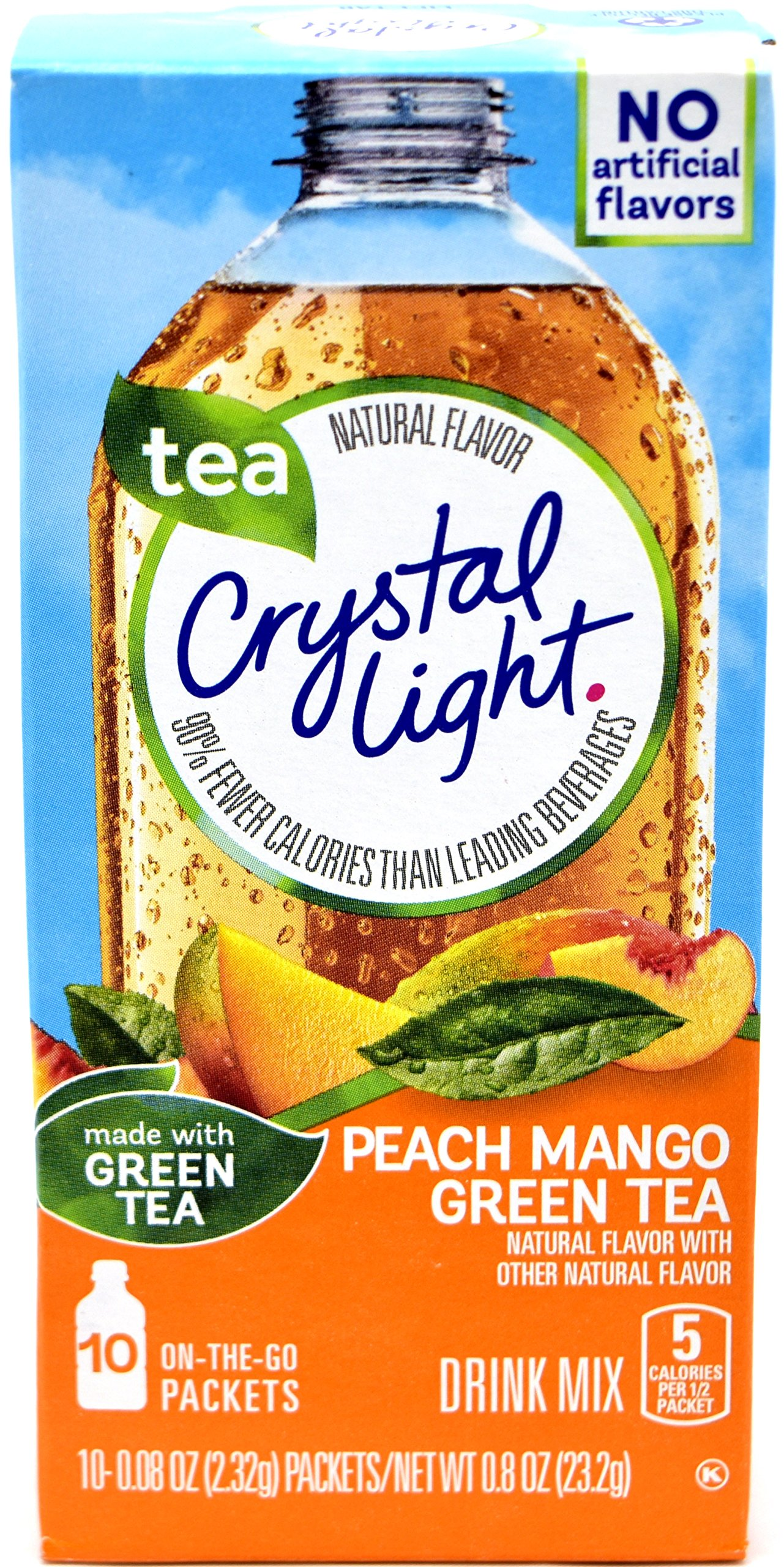 Crystal Light On The Go Peach Mango Green Tea Drink Mix, 10-Packet Box (Pack of 35)