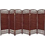 Oriental Furniture 4 ft. Tall Fiber Weave Room Divider - Dark Red - 6 Panels