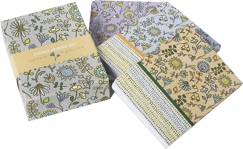 carta spessa 100 g//mq a quadretti BambooM tinta unita 96 pagine per ciascuno a righe Quaderno A7 stampe individuali set di 3