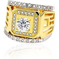 Uloveido Men White Gold Color Cubic Zirconia 3 Pieces Stackable Ring Y424/Y425