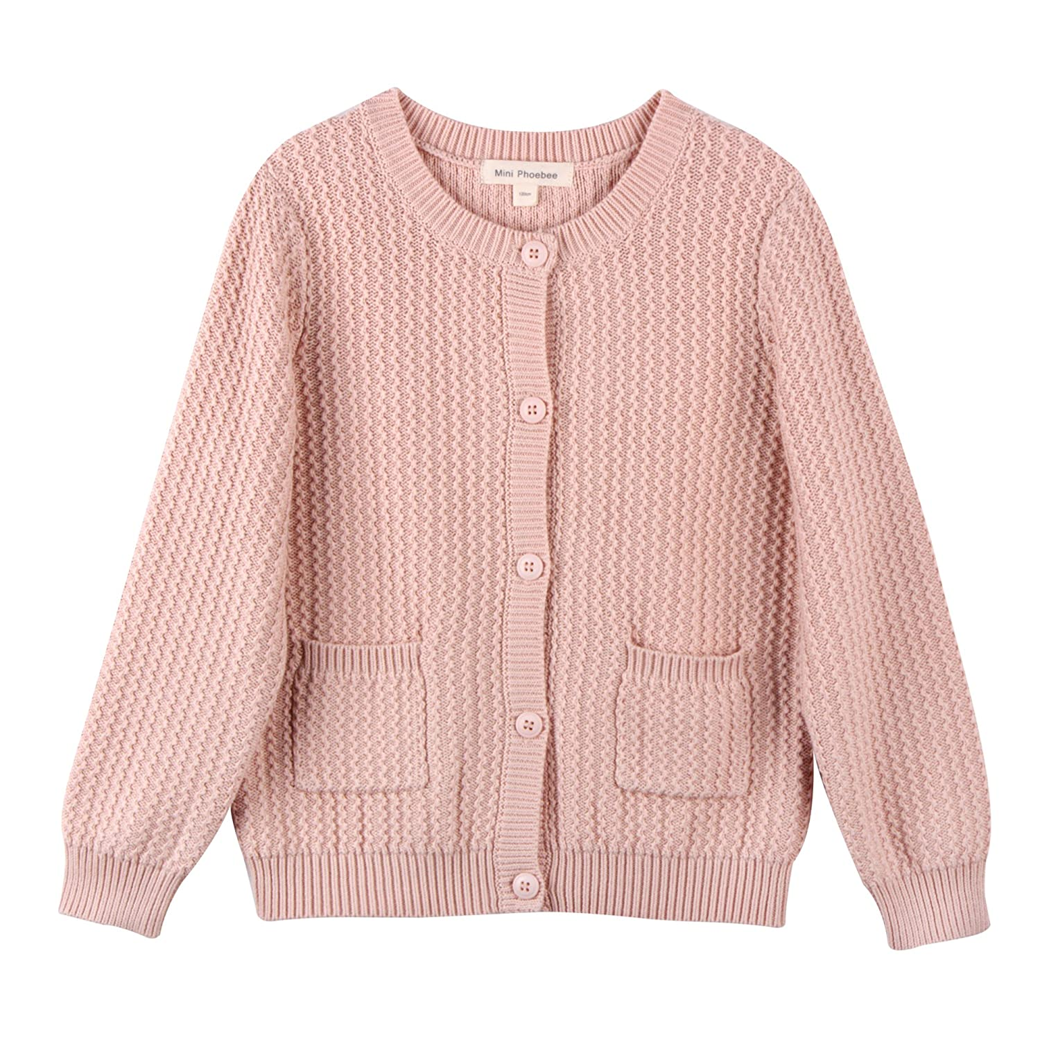 Mini Phoebee Girls' Long Sleeve Crew Neck Twisted Texture Knit Cardigan Sweater