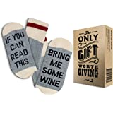 "Comfort Cotton Socks + Gift Box ""If you can read this bring me some wine"" Perfect Christmas Gift for Wine Lovers, Birthdays, White Elephant, Mother or Father Gift, husband, Wife or Friend Wine Socks"