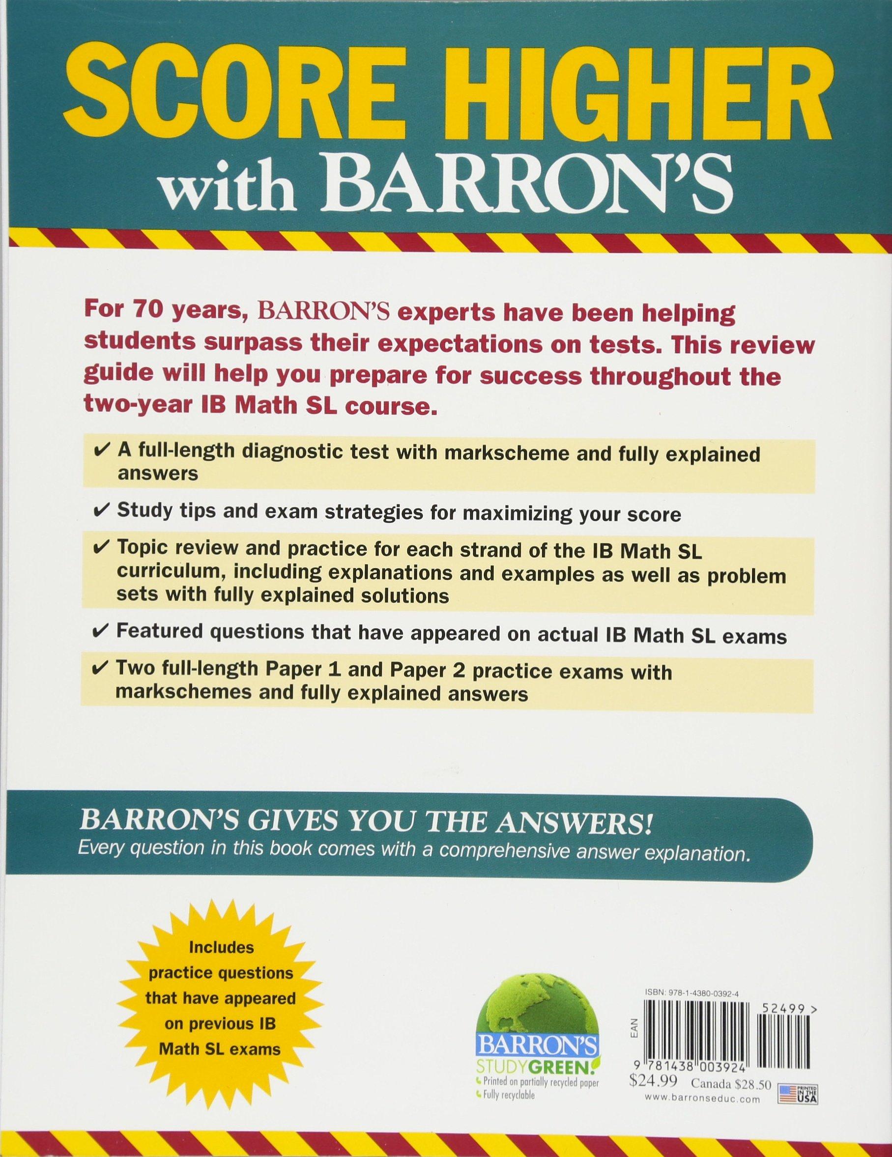 Barron's IB Math SL (Barron's Ib Books): Amazon co uk: Stella Carey