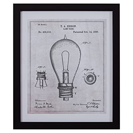 Rivet black and white print of 1890 bulb in black frame 17 x 20quot