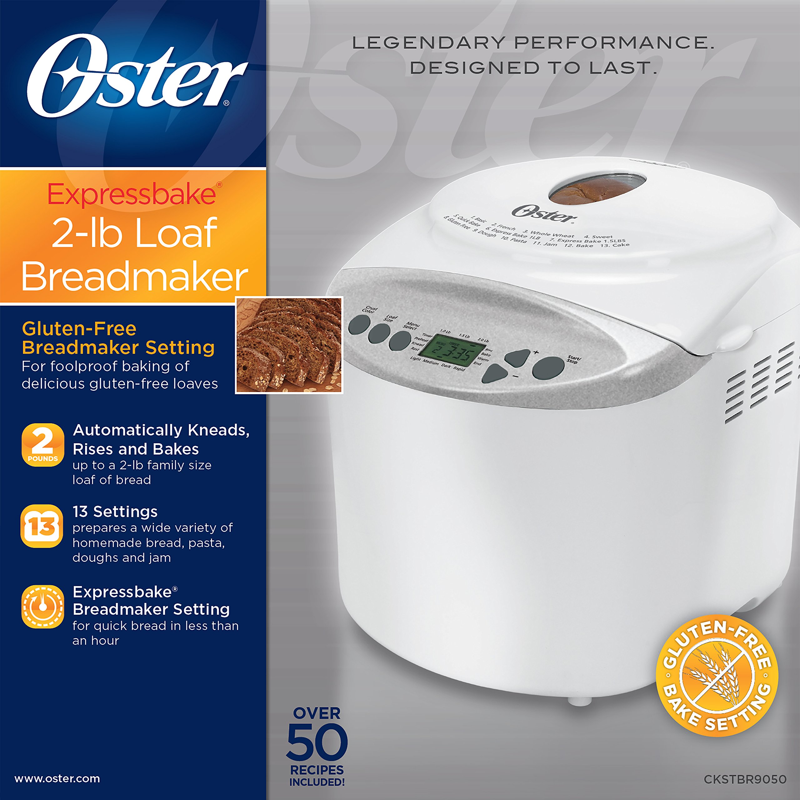 Oster Expressbake Bread Maker with Gluten-Free Setting, 2 Pound, White (CKSTBR9050-NP) by Oster (Image #4)