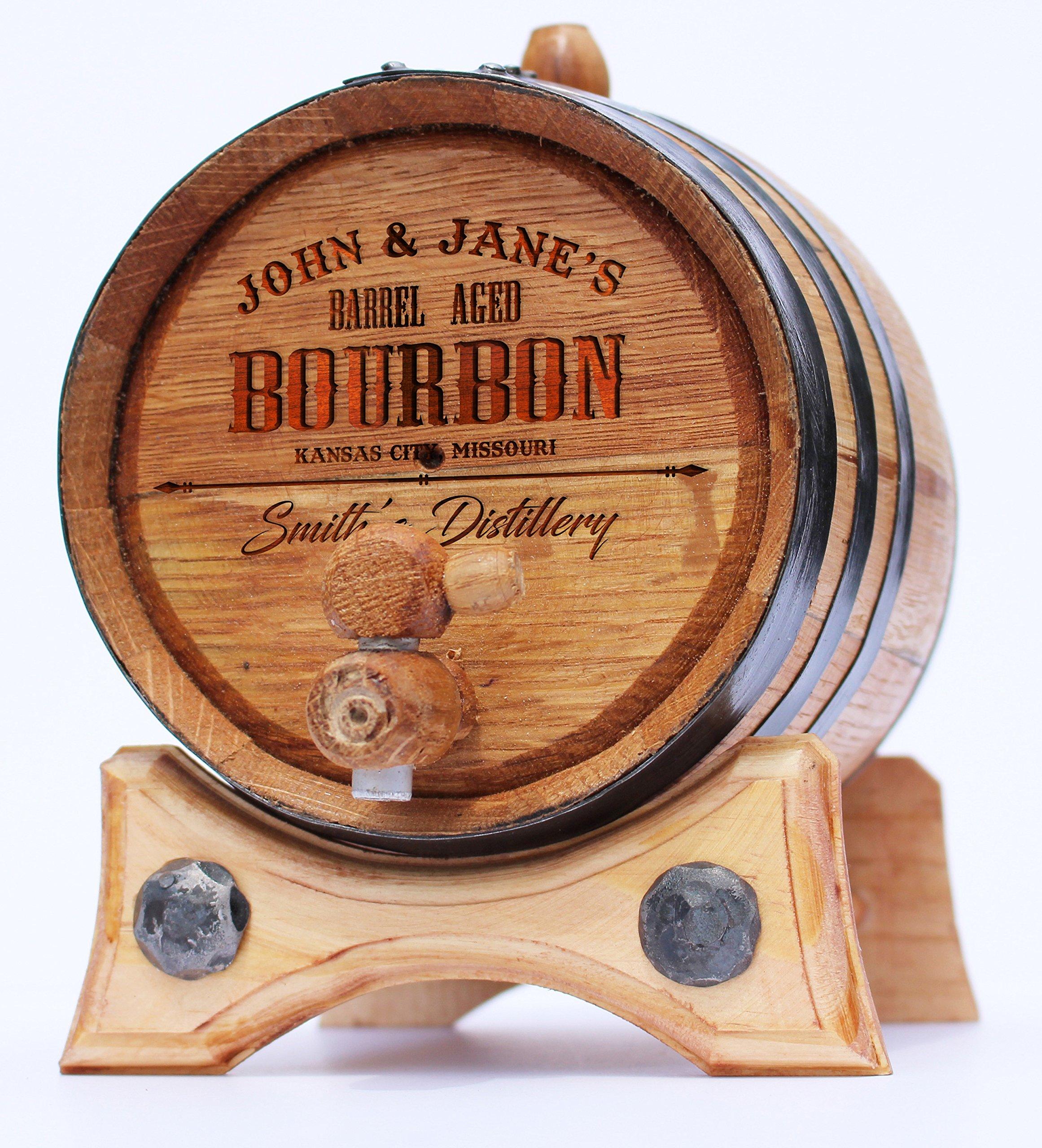 Personalized Whiskey Oak Barrel – 2 Liter Black Steel Hoops - Engraved Bourbon Template