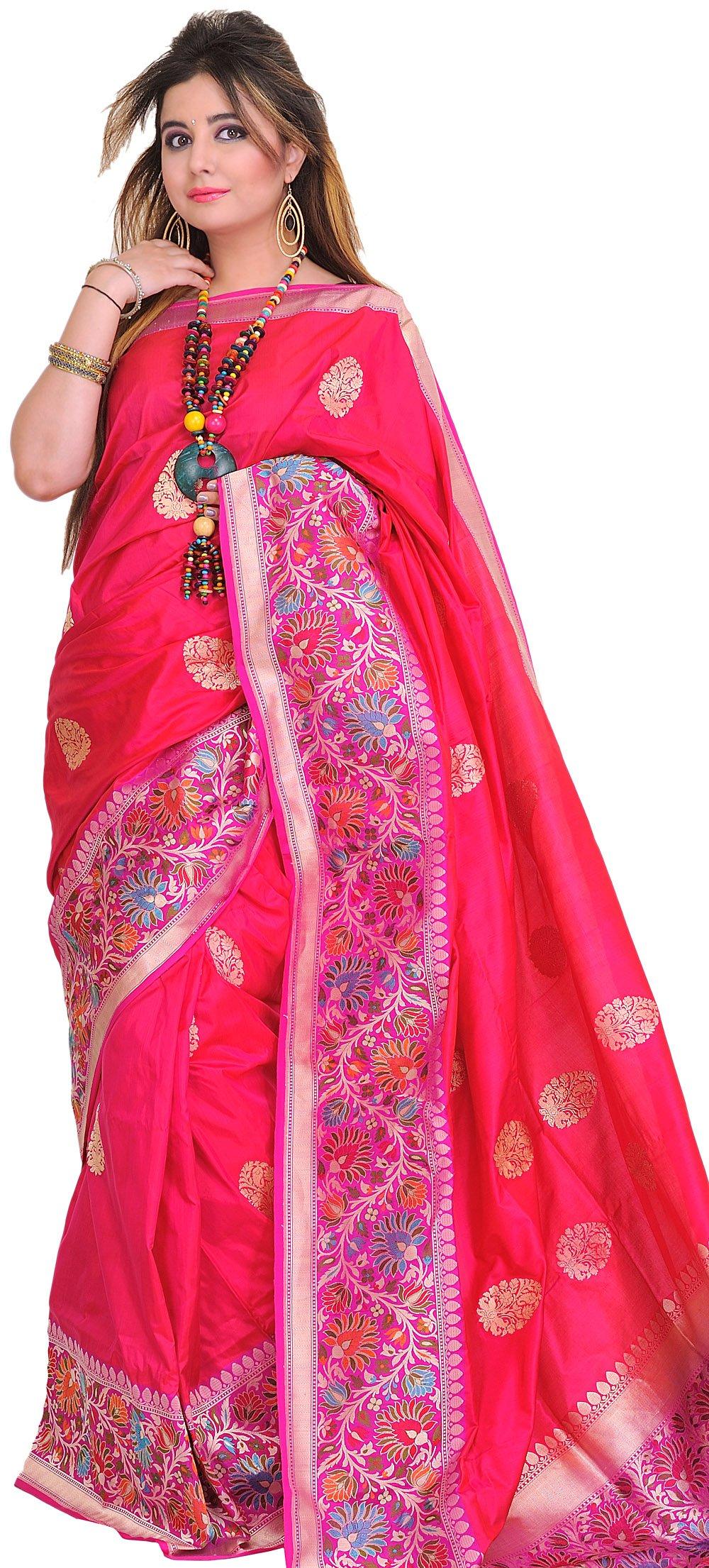 Exotic India Raspberry-Sorbet Superfine Sari From Banaras With Wide Kadhw - Pink
