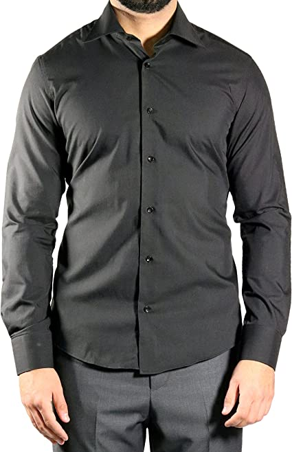 mmuga Extra Manga Larga Camisa de Hombre, Slim-Fit/Entallado, Negro, Tallas S – 5 x l: Amazon.es: Ropa y accesorios