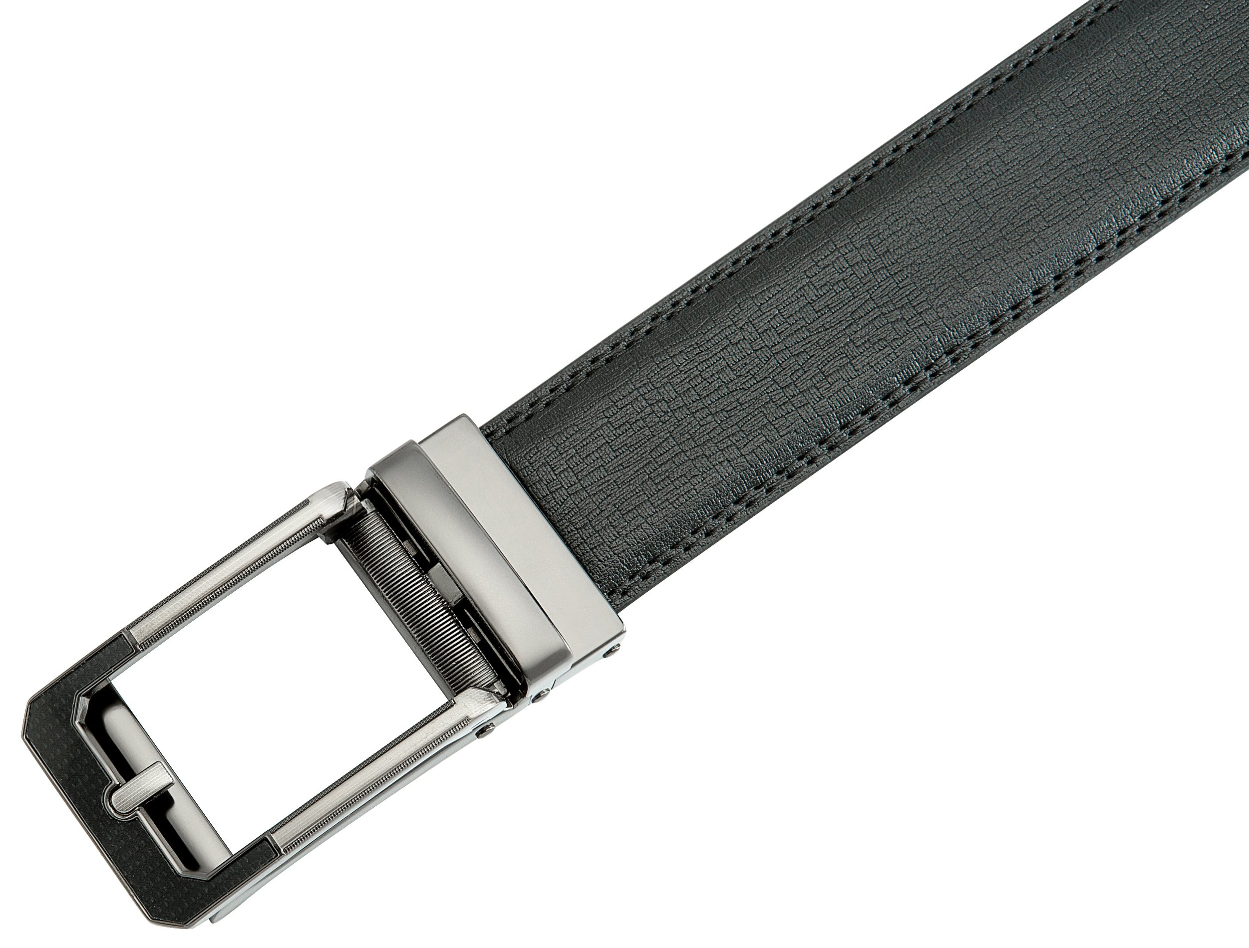 Men's Black Ratchet Belt - Black and Silver Open Style - by J. Dapper by J. Dapper (Image #6)