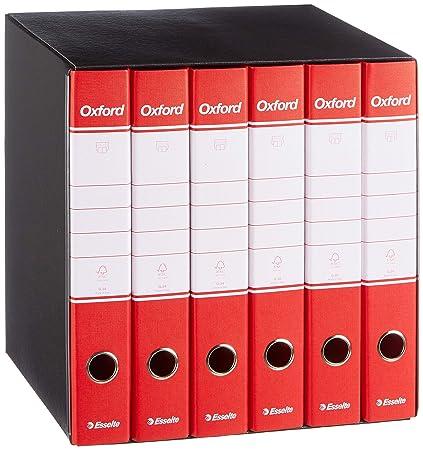 Esselte - Grupo de 6 archivadores Oxford con mecanismo de palanca y con funda, color