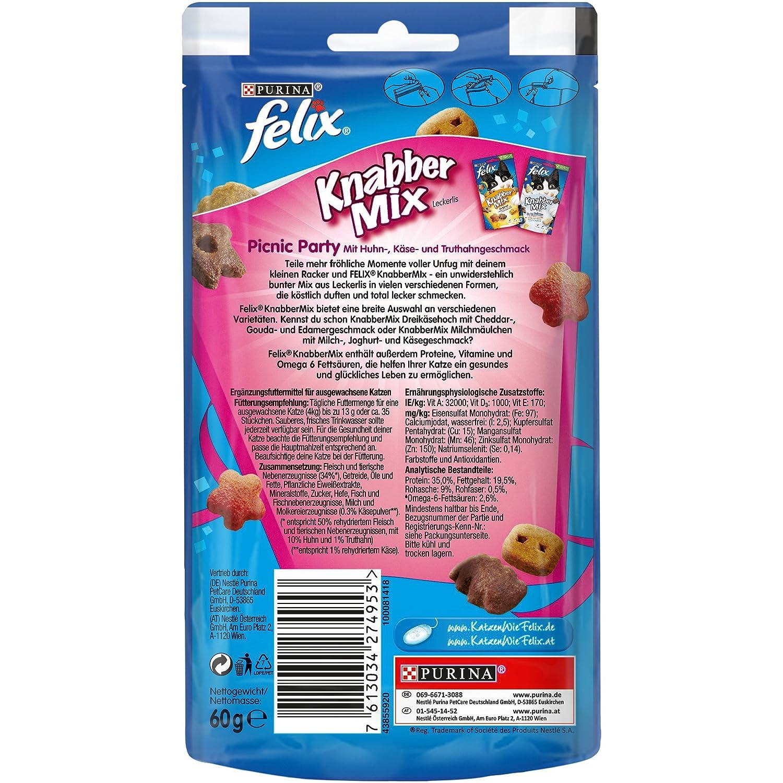 Felix Golosinas para gatos Knabber Mix, pack de 8 (8 paquetes de 60 g): Amazon.es: Productos para mascotas