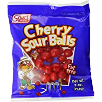 Shari Cherry Sour Balls, 5 Ounce Bags (Pack of 12)