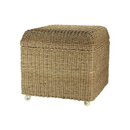 Genial Household Essentials Rolling Seagrass Wicker Storage Seat