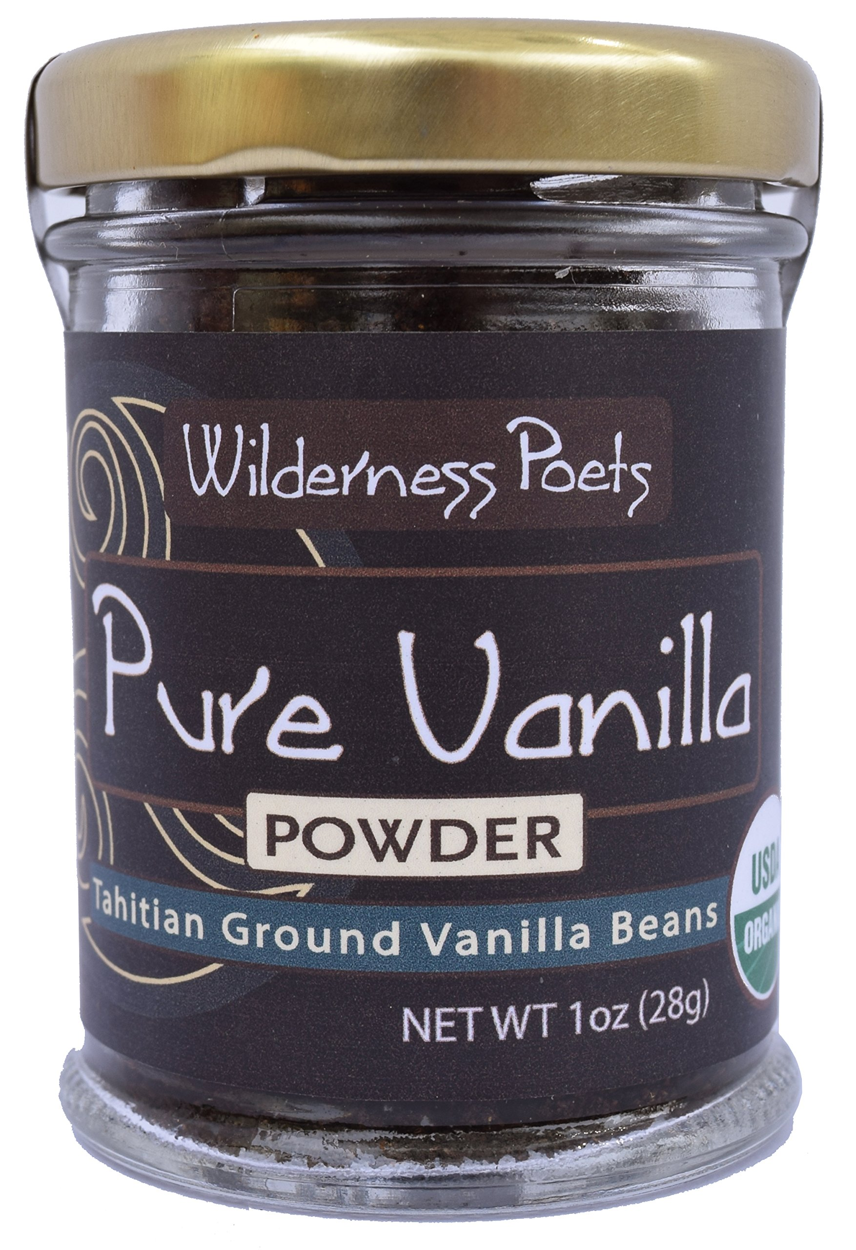 Wilderness Poets Pure Vanilla Powder - Organic Vanilla Bean Powder - Tahitian Variety, 1 Ounce (28 Grams)