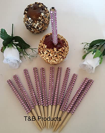 Home & Garden 12 Gold Bling Candy Apple Sticks Gold Rhinestone Candy Apple Sticks Without Return