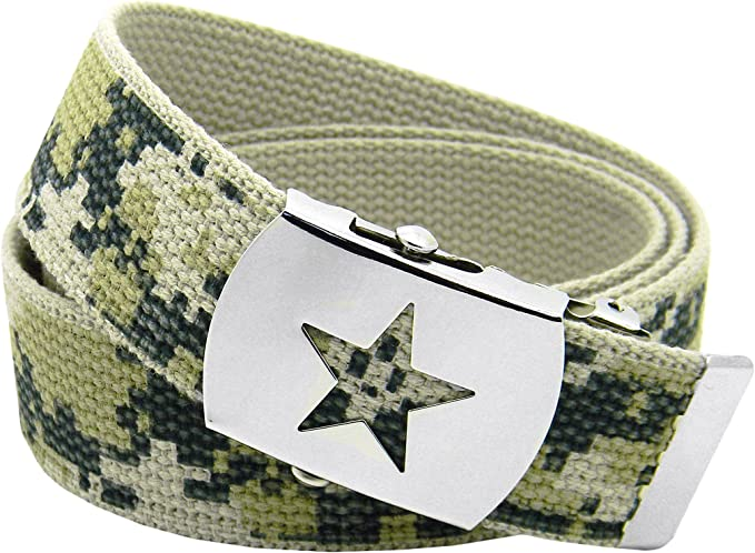 Girls School Uniform Silver Slider Star Belt Buckle with Canvas Web Belt
