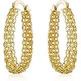 Gold Filigree Earring for Women | Barzel 18K Gold Plated Filigree Link Mesh Braided Hoop Earrings (Gold)