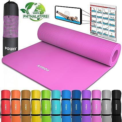POWRX Colchoneta Fitness Antideslizante 183 x 60 cm - Esterilla Ideal para Yoga, Pilates y ginnasia - Extra Suave de 1 cm de Grosor - Ecológica con ...