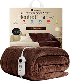 975bd09b0813 Homefront Electric Heated Throw / Over Blanket in Chocolate (160 x 120  Centimetres) Easy To…