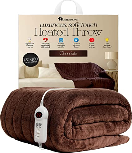 Homefront Electric Heated Throw / Over Blanket in Chocolate (160 x 120 Centimetres) Easy To Use Digital Control - Machine Washable - Ultra Soft, Cosy ...