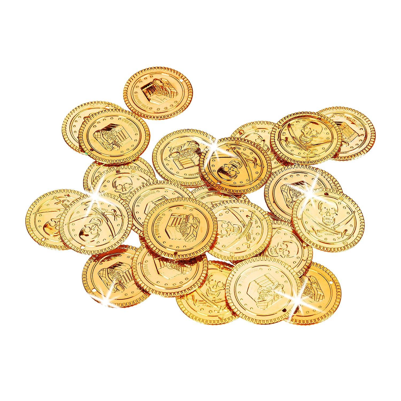 pretend denaro per feste di bambini 288/Golden Doubloon giocattoli Relaxdays 10022524/pirata monete tutte le et/à PP