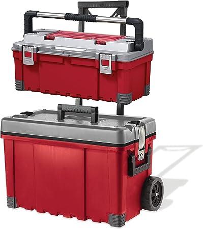 Keter Pro 22 + 25 en. Almacenamiento Portátil de plástico caja de herramientas con ruedas y Utility Cart, rojo/gris: Amazon.es: Bricolaje y herramientas