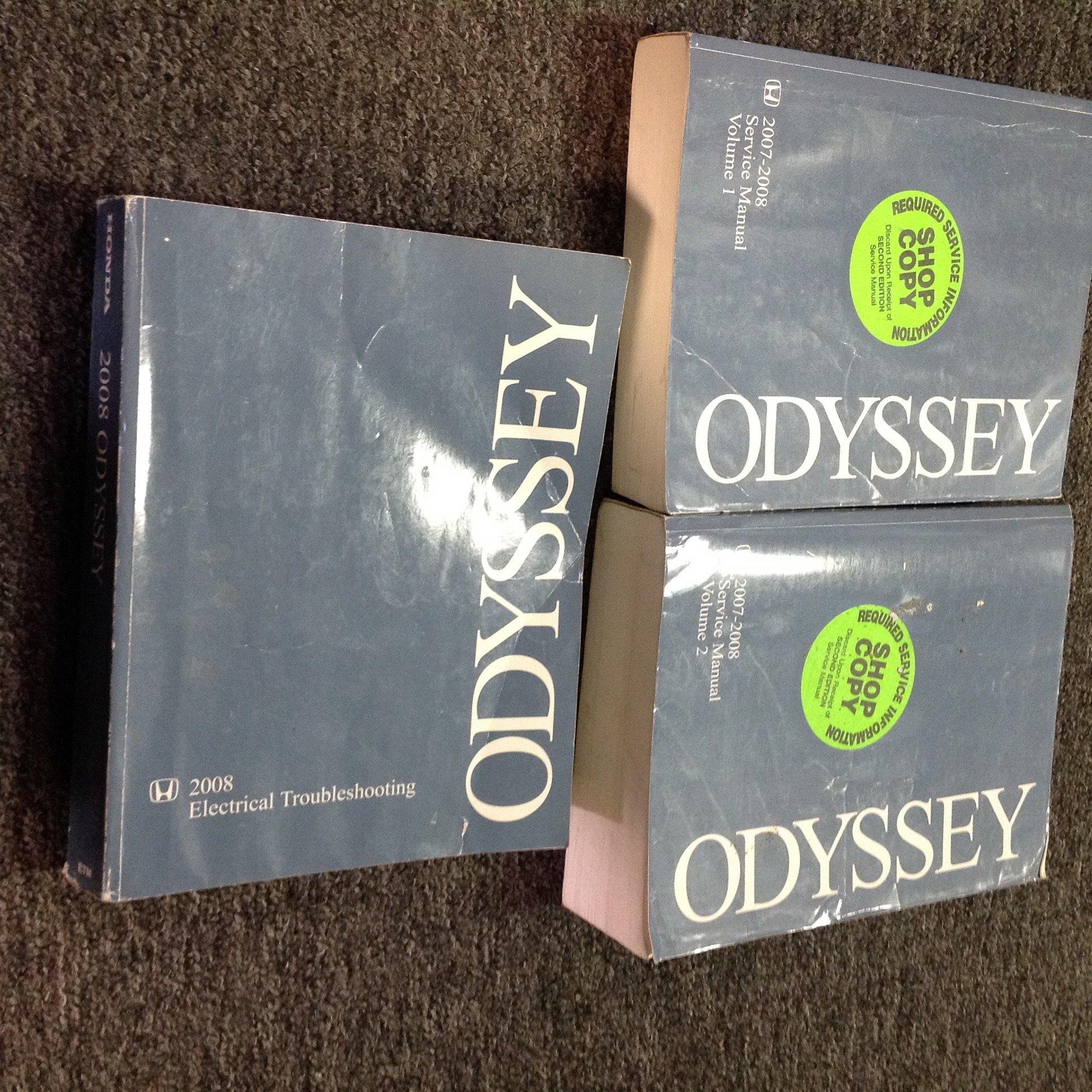 2007 2008 honda odyssey van service repair shop manual set w 2008 ewd etm  paperback – 2008