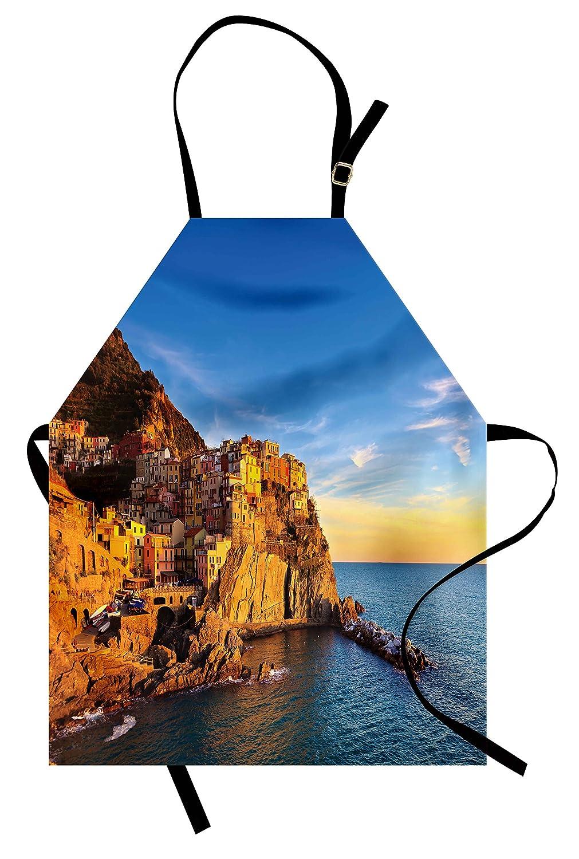 イタリアエプロンby lunarable、イタリア地中海村on cliffs in 5つLandsシースケープパノラマ表示イメージ、ユニセックスキッチン調節可能なネックよだれかけエプロンfor Cooking Bakingガーデニング、ブルークリーム   B077XFVR9N