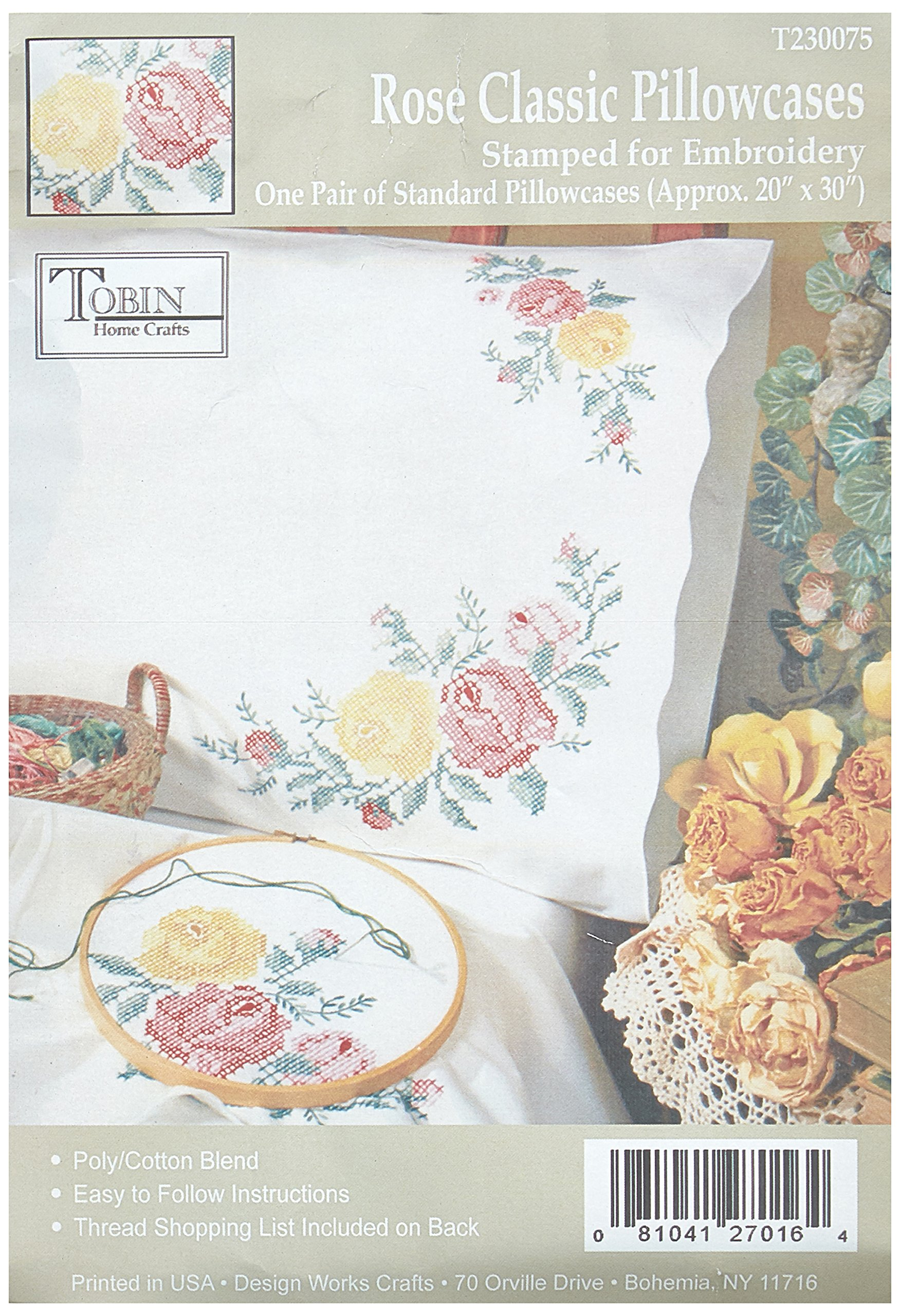Tobin Stamped Pillowcase Pair for Embroidery, 20 by 30-Inch, Rose Classic