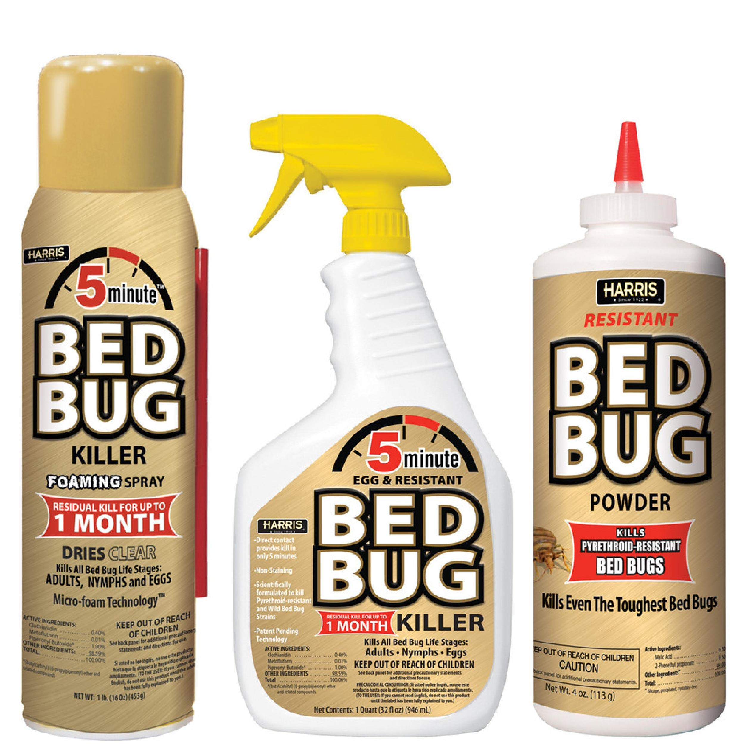 Harris 5 Minute Bed Bug Killer Value Bundle Kit - 32oz Liquid Spray, 16oz Foaming Aerosol, 8oz Bed Bug Powder by Harris