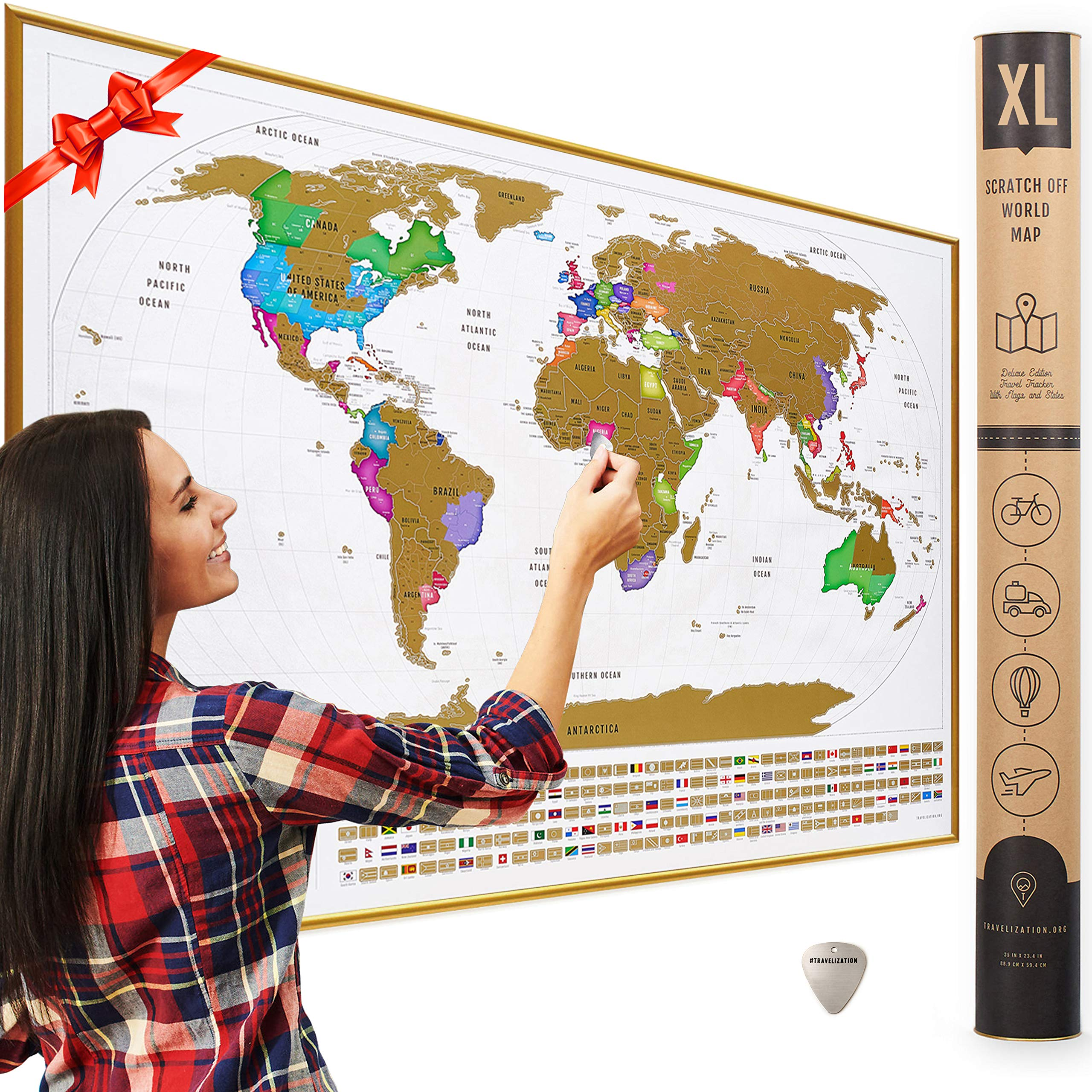 XL Scratch Off Map of The World with Flags - Made in Europe 36 x 24'' Large Scratch Off World Map Poster with US States & Flags - Original Travel World Map Scratch Off, Travel Decor, Gift for Travelers by Travelization