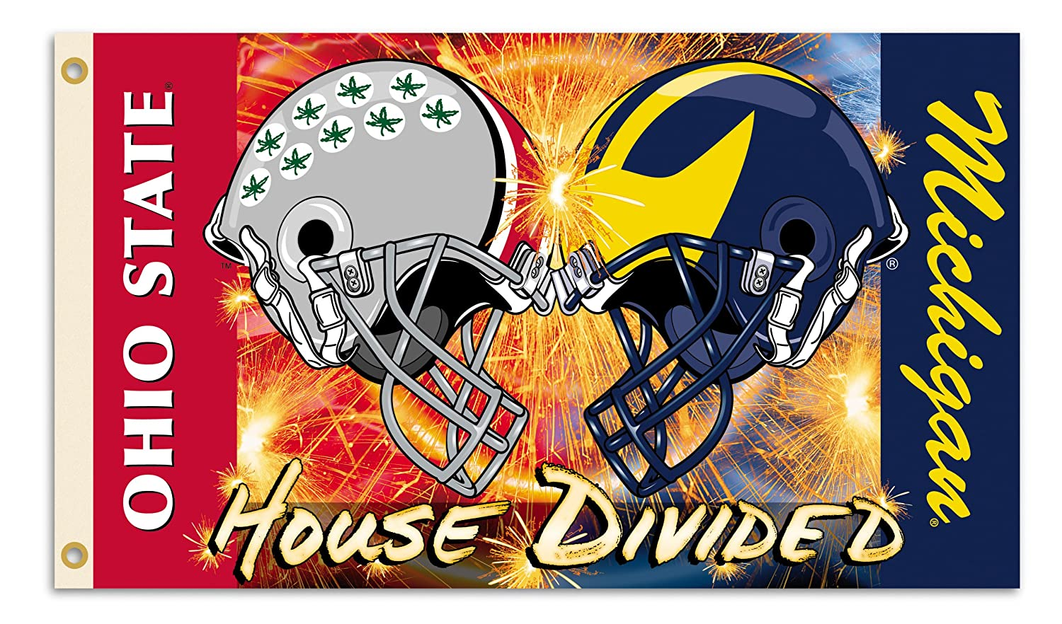 NCAA3' X 5' Rivalry House Divided Clashing Helmets Flag withGrommets