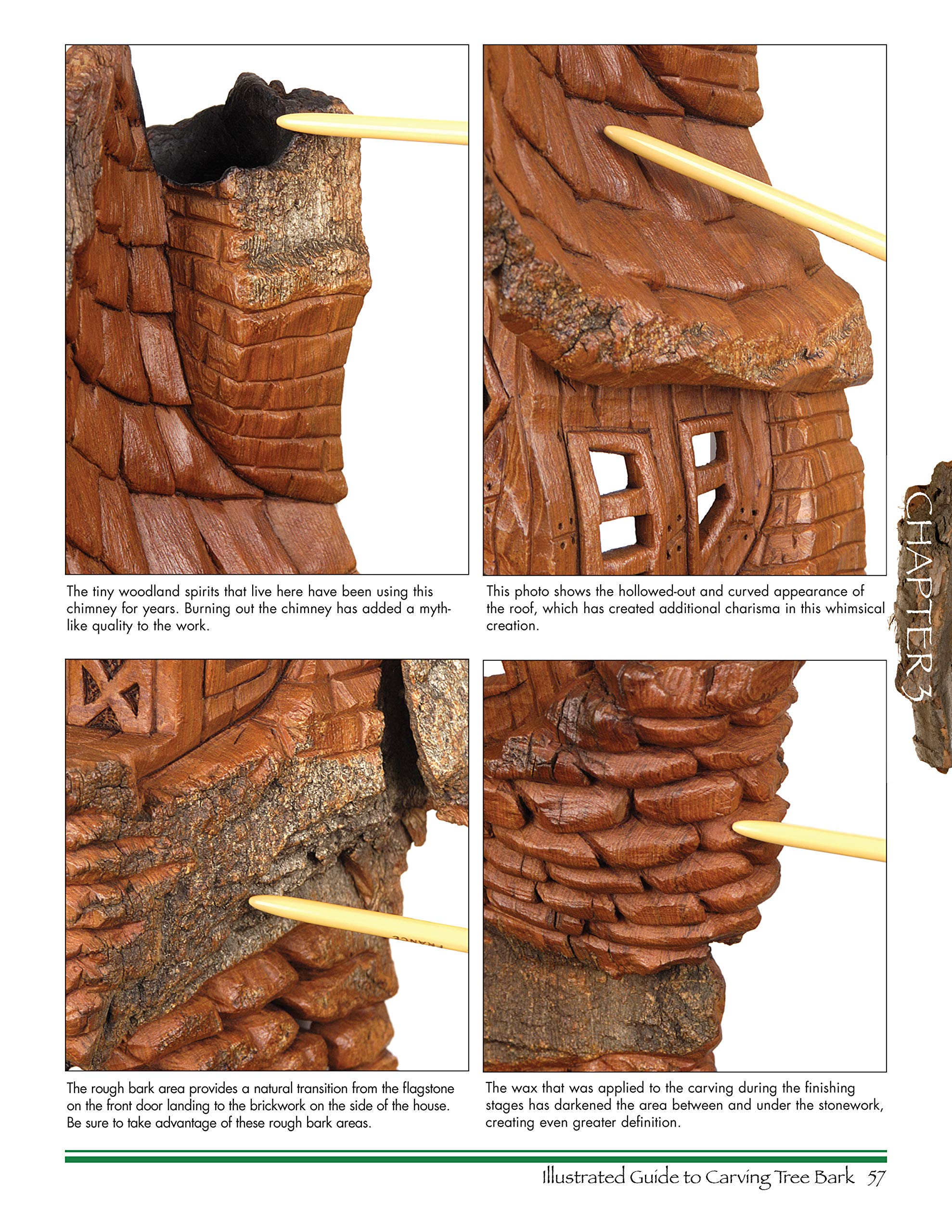 Illustrated Guide to Carving Tree Bark: Releasing Whimsical Houses