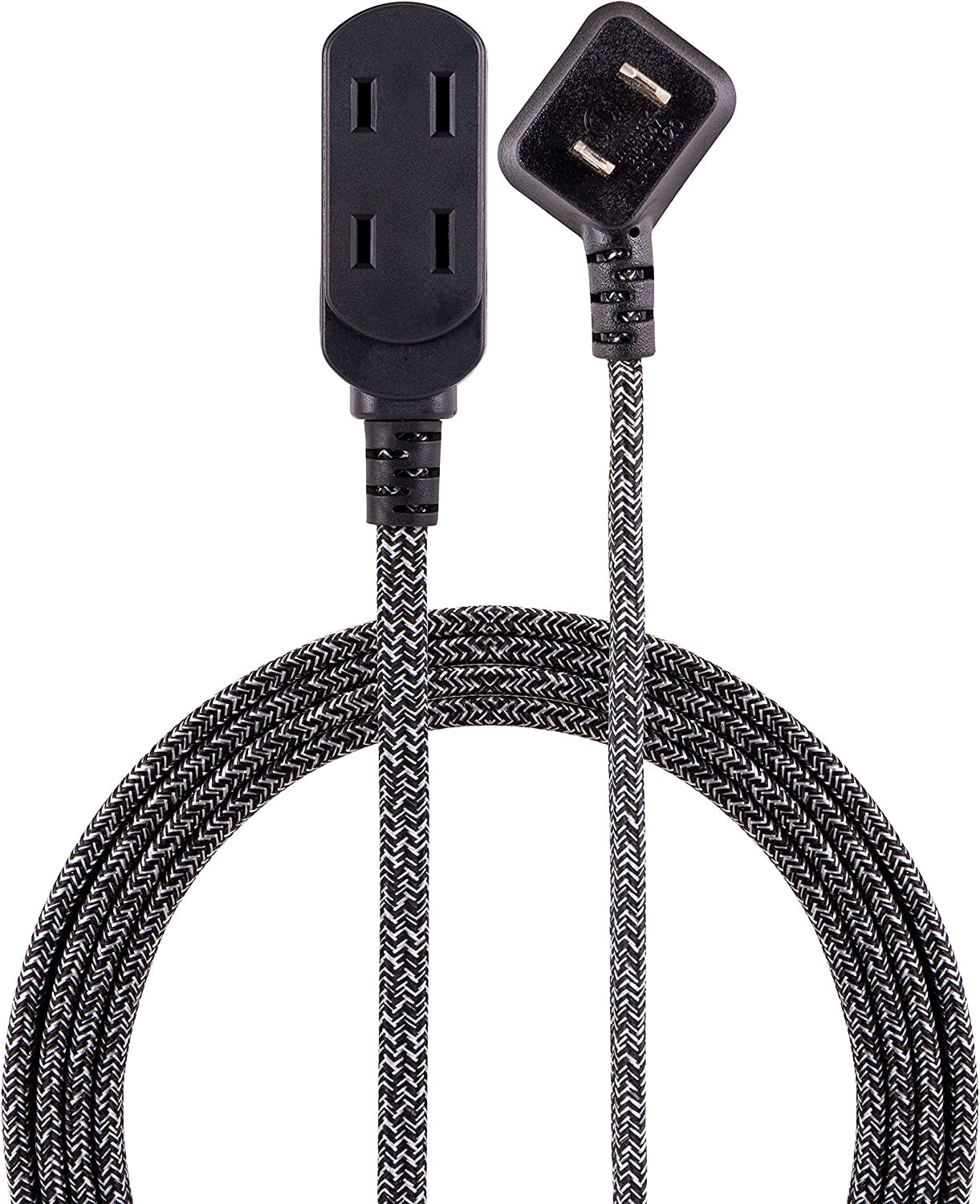Cordinate 43438-T1, Black/Gray, Designer 3 Extension, 2 Prong Power Strip, Extra Long 15 Ft Cable with Flat Plug, Braided Fabric Cord, Slide-to-Close Safety Outlets, 43438