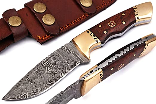 Shard Damascus Knife - Handmade Damascus Steel Hunting Knife - 8 Inches fixed blade knives, Hunting knife With Sheath And RoseWood Handle