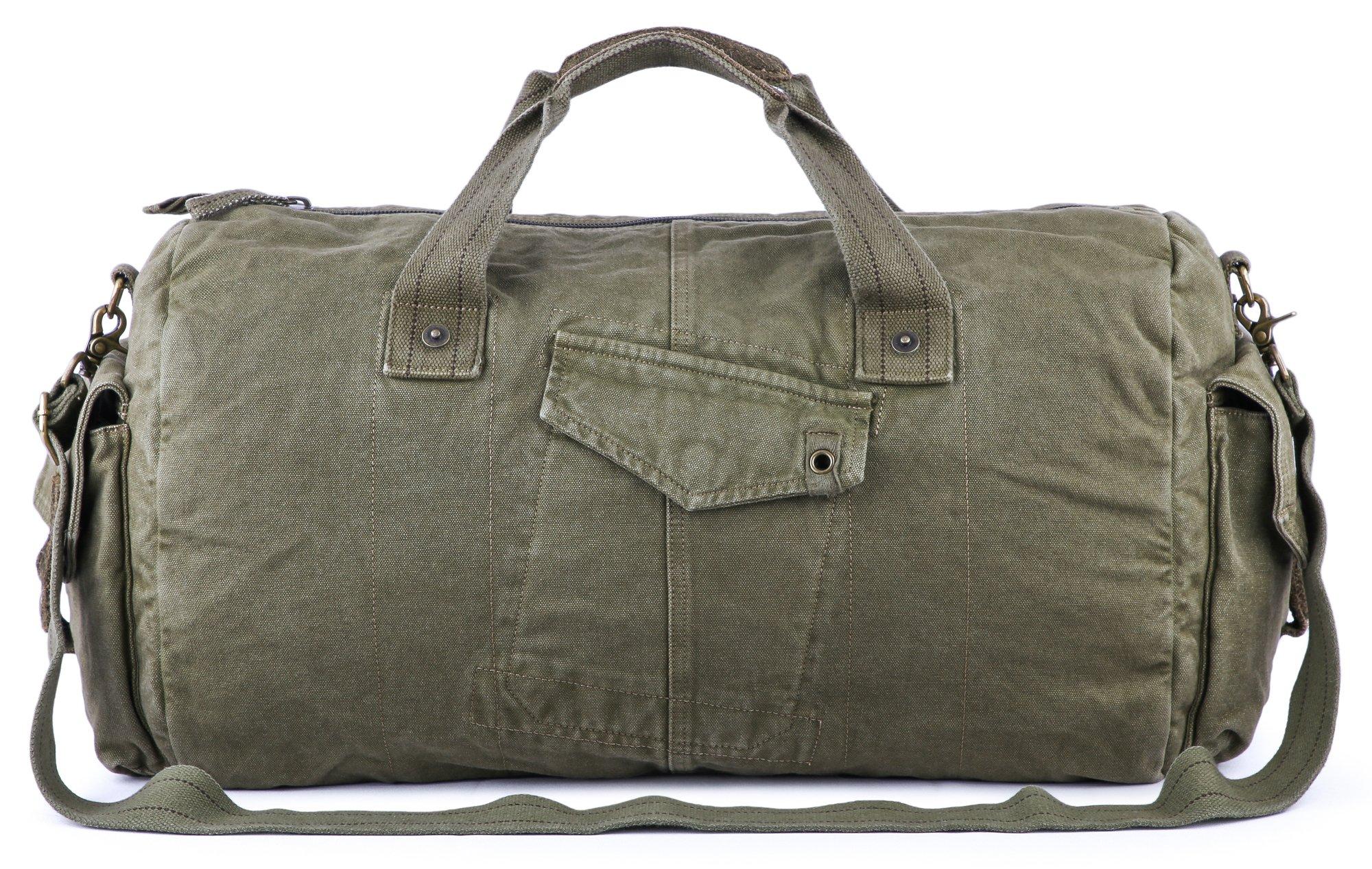 Gootium Canvas Duffel Bag - Vintage Travel Tote Weekend Holdall Sports Gym Bag, Army Green