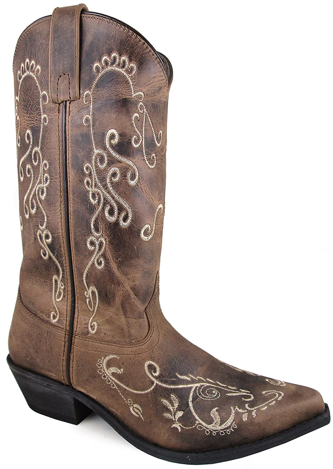 Smoky Mountain Women's Jolene Pull On Embroidered Snip Toe Brown Waxed Distress Boots B072MS5LPM 5.5 B(M) US