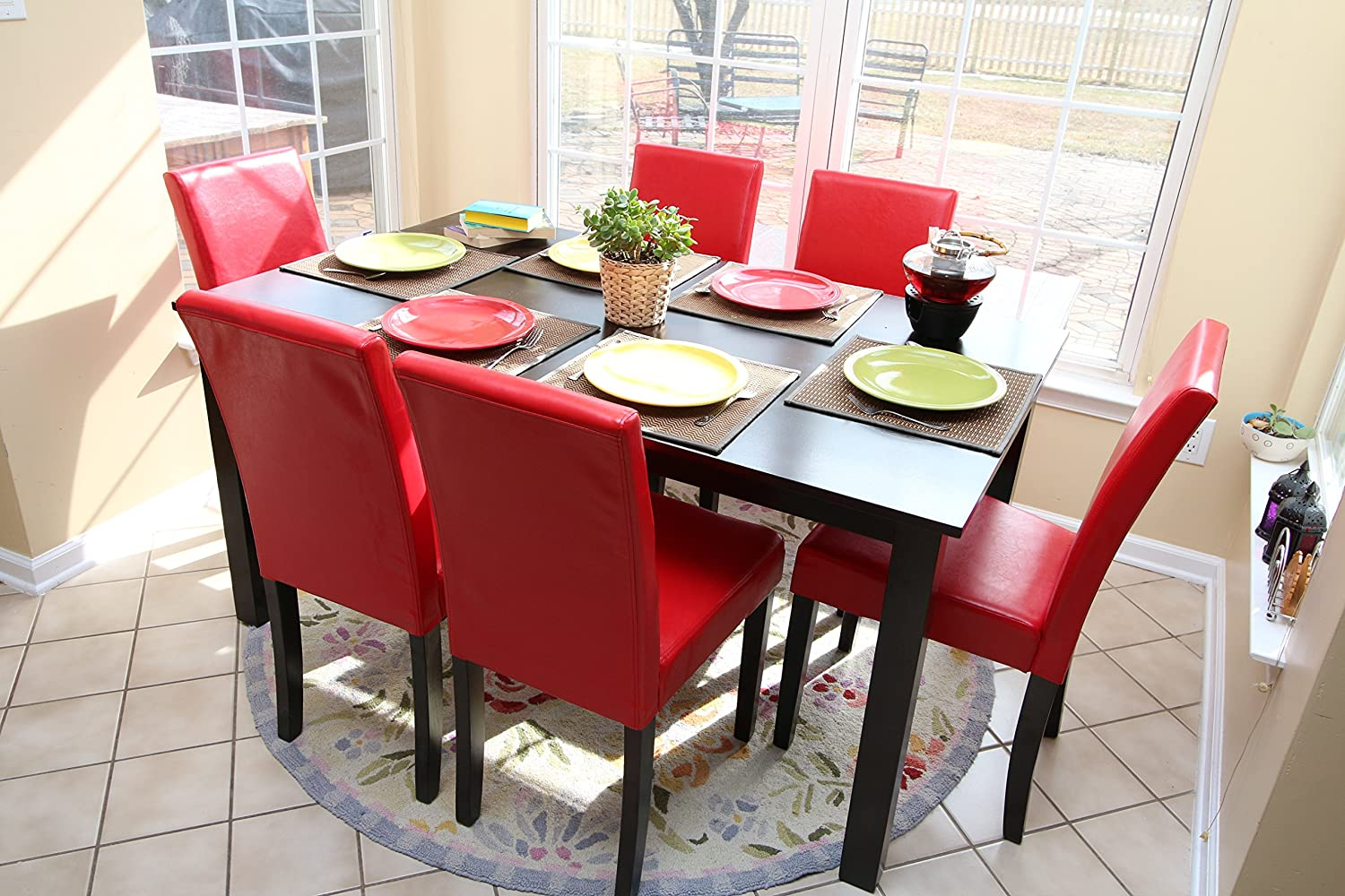 Amazon.com   7 Pc Red Leather 6 Person Table And Chairs Red Dining Dinette    Red Parson Chair   Table U0026 Chair Sets