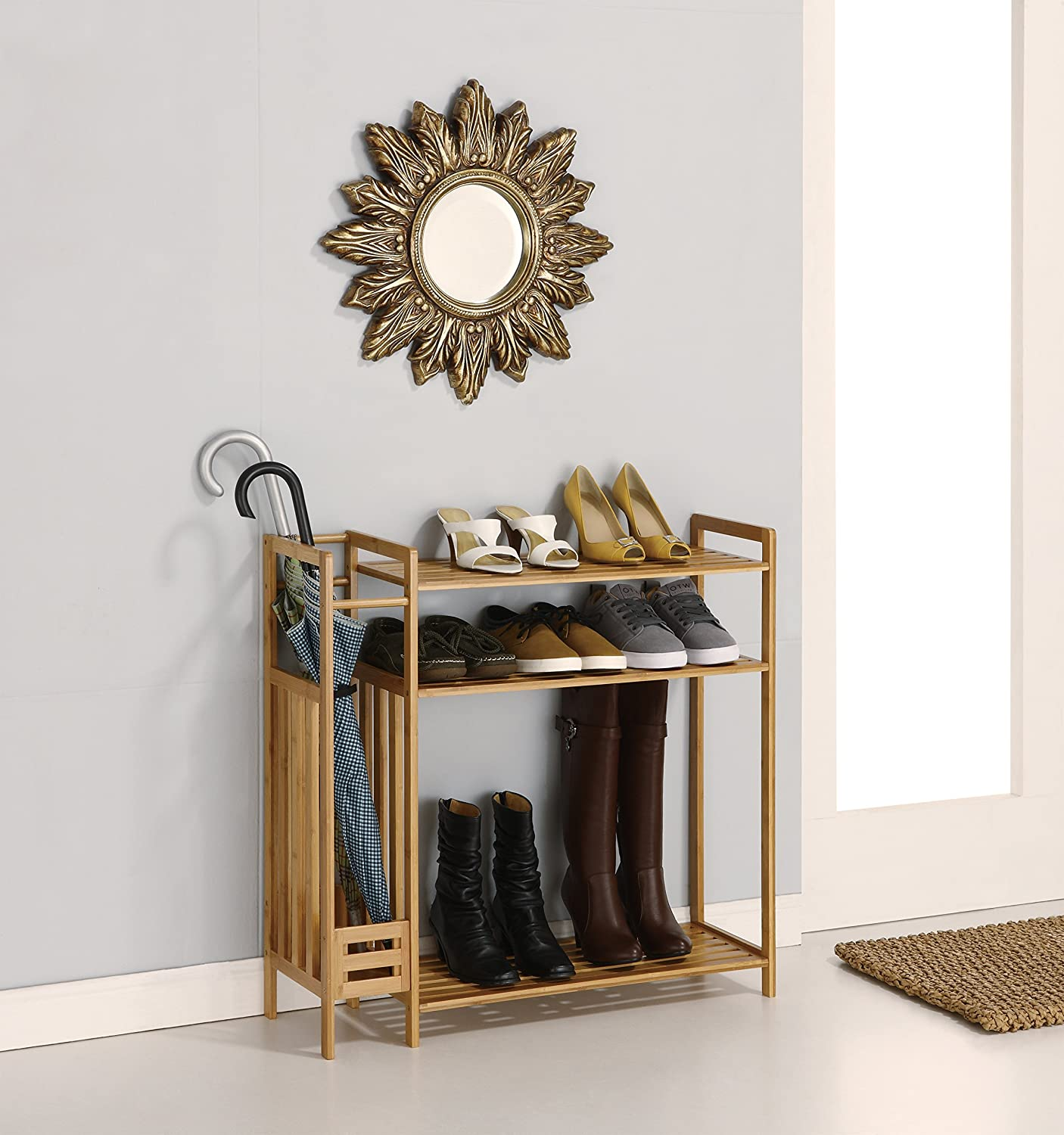 Lovely Amazon.com: Organize It All Natural Bamboo 3 Tier Entryway Storage Unit  With Umbrella Stand: Home U0026 Kitchen