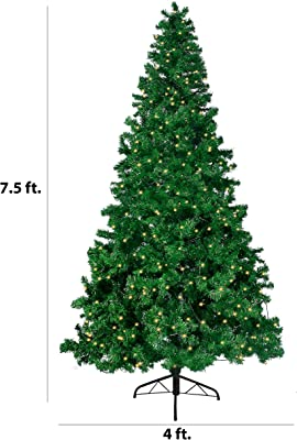Joiedomi 7.5 Ft Prelit Spruce Christmas Tree, Hinged Artificial Christmas Tree with 660 Clear LED Lights(8 Modes) and Metal Stand