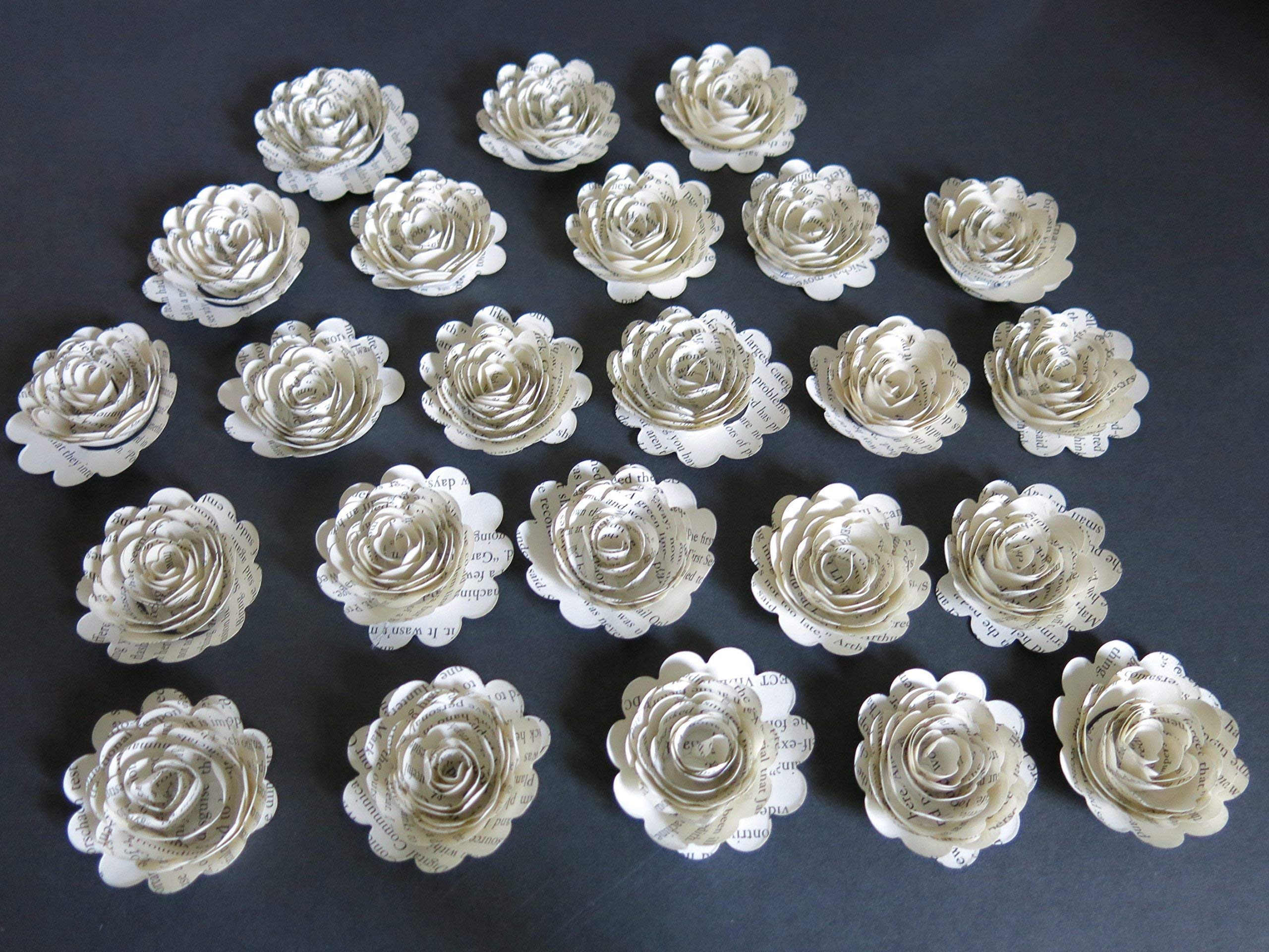 Scalloped-Book-Page-Roses-Paper-Flowers-Wedding-Decorations-24-Piece-Set-Mini-15-Floral-Bridal-Shower-Table-Decor-Graduation-or-Teacher-Gift