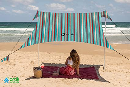 Beach Sunshade UPF 50+ Portable Canopy Sunshade with Sandbag Anchors Fishing for Camping Trips Backyard Fun or Picnics Pop Up Beach Tent Sun Shelter