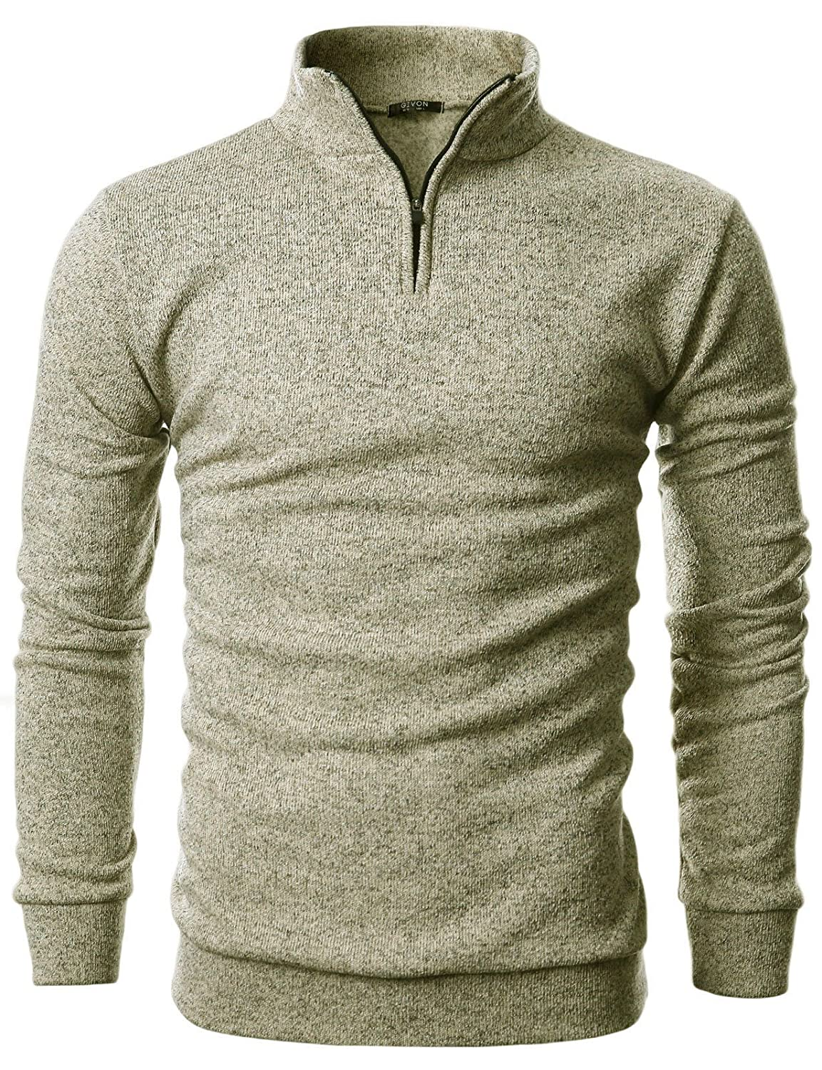 GIVON Mens Slim Fit Cable Knit Quarter Zip Long Sleeve Turtle Neck Pullover Sweater